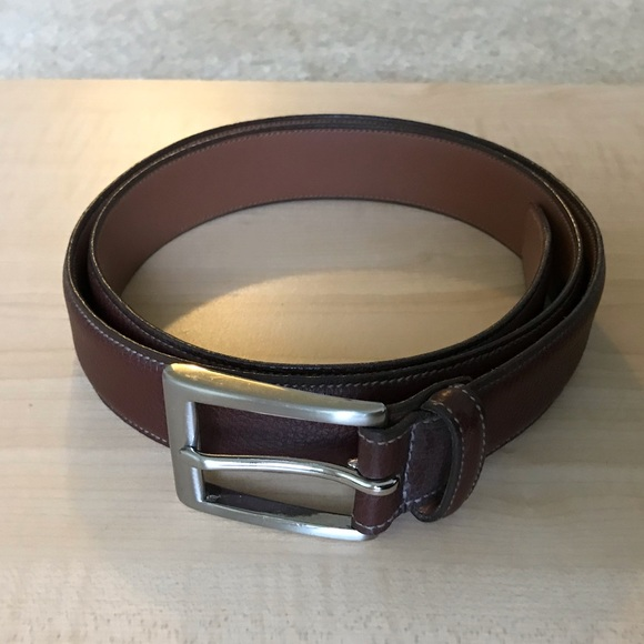 BROOKS BROTHERS Belt Braided Leather Brown Mens NWT New